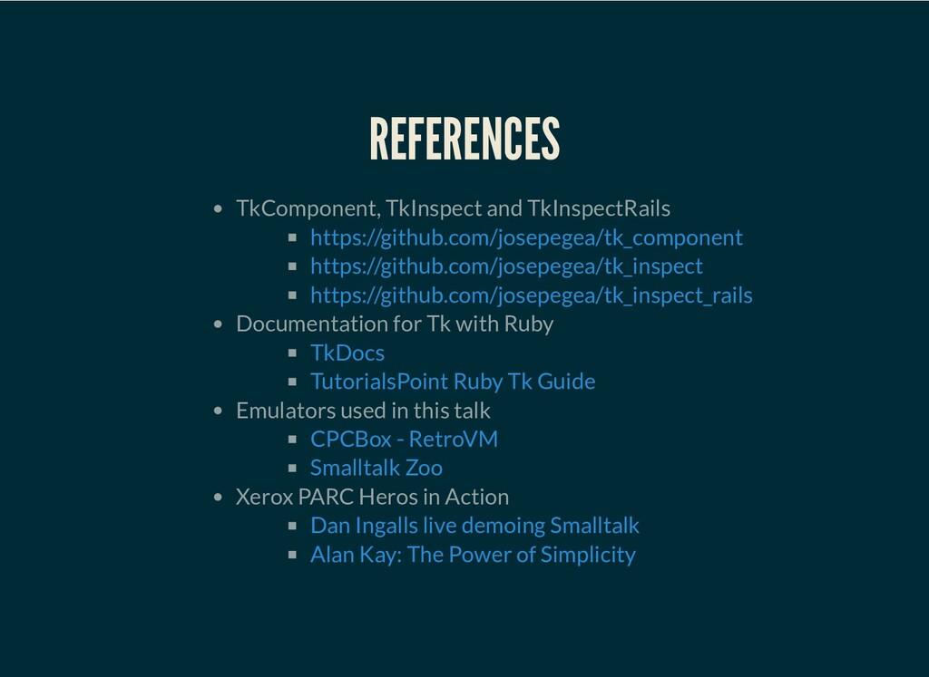 REFERENCES TkComponent, TkInspect and TkInspect...