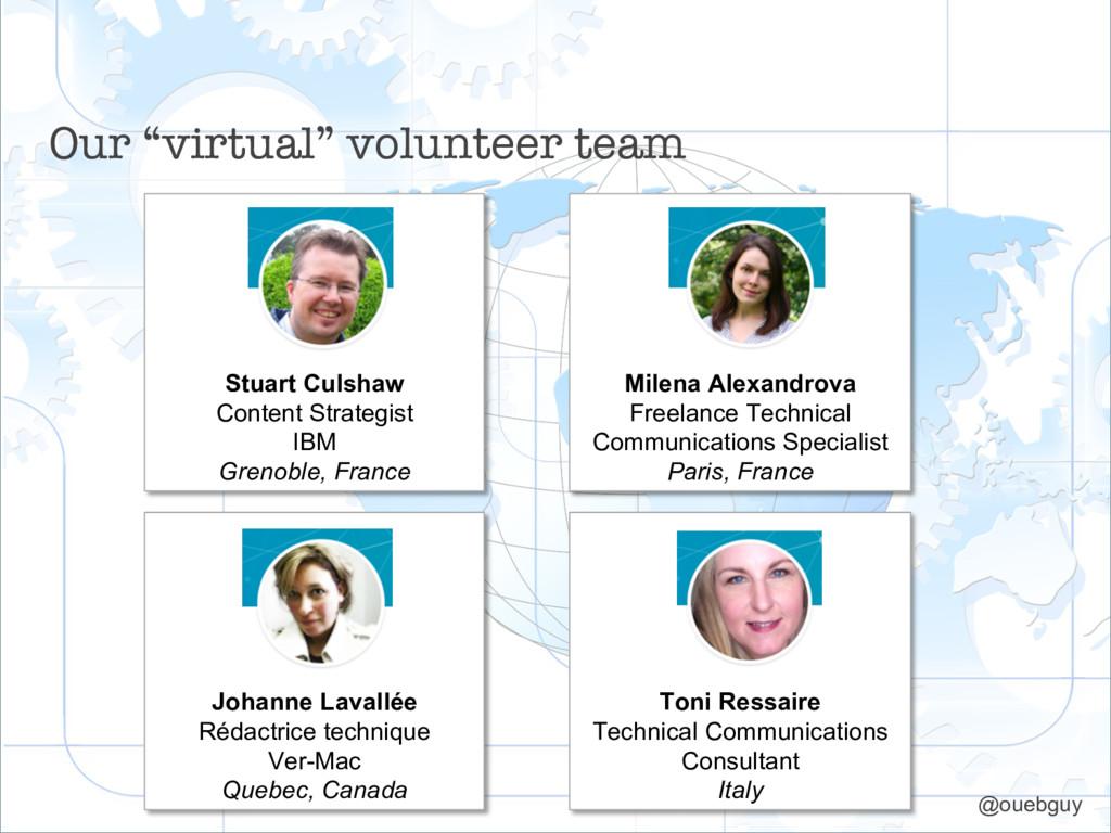 "Our ""virtual"" volunteer team Stuart Culshaw Con..."