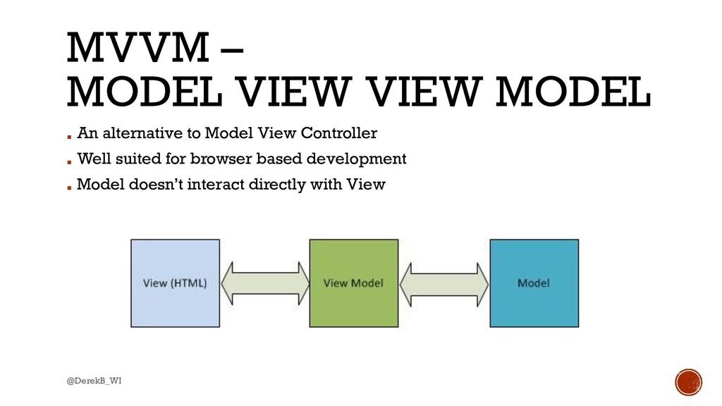 @DerekB_WI MVVM – MODEL VIEW VIEW MODEL ▪ An al...