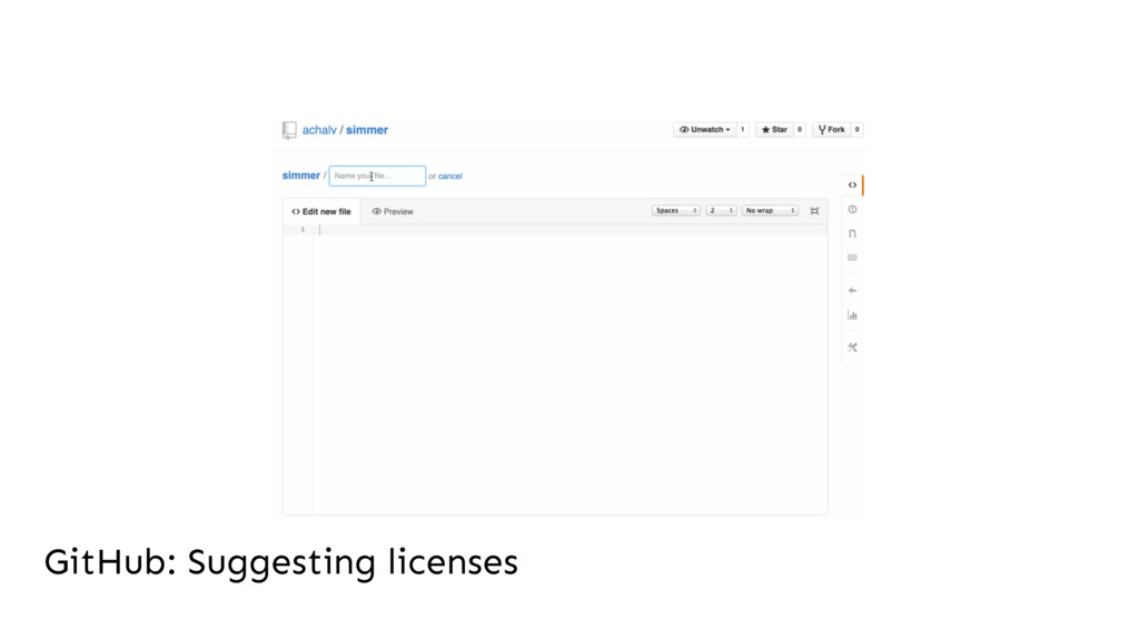 GitHub: Suggesting licenses