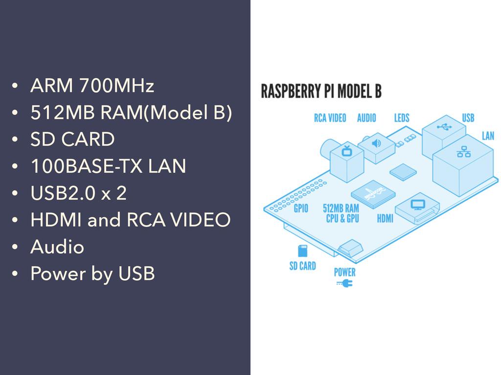 • ARM 700MHz • 512MB RAM(Model B) • SD CARD • 1...