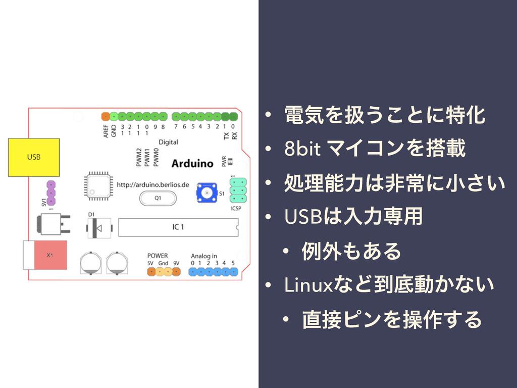 • ిؾΛѻ͏͜ͱʹಛԽ • 8bit ϚΠίϯΛࡌ • ॲཧྗඇৗʹখ͍͞ • USB...