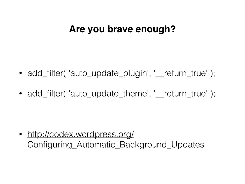 Are you brave enough? • add_filter( 'auto_update...