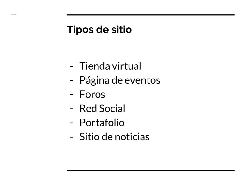 Tipos de sitio - Tienda virtual - Página de eve...