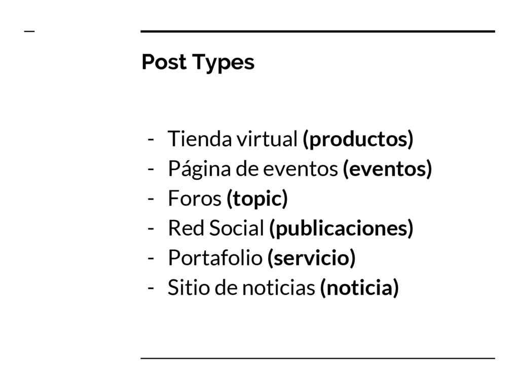 Post Types - Tienda virtual (productos) - Págin...