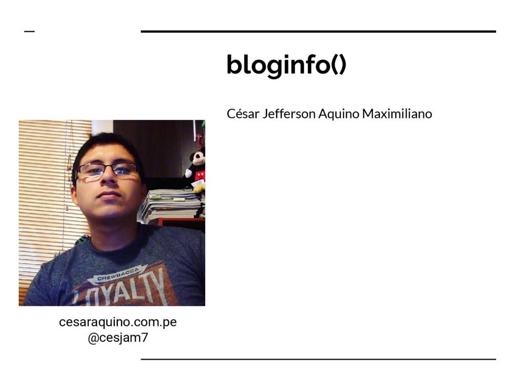 bloginfo() César Jefferson Aquino Maximiliano c...