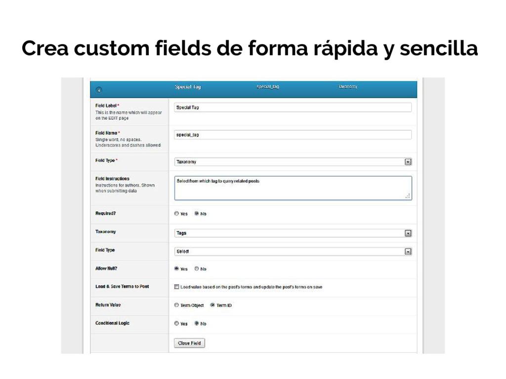 Crea custom fields de forma rápida y sencilla