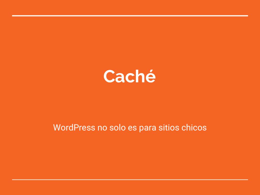 Caché WordPress no solo es para sitios chicos