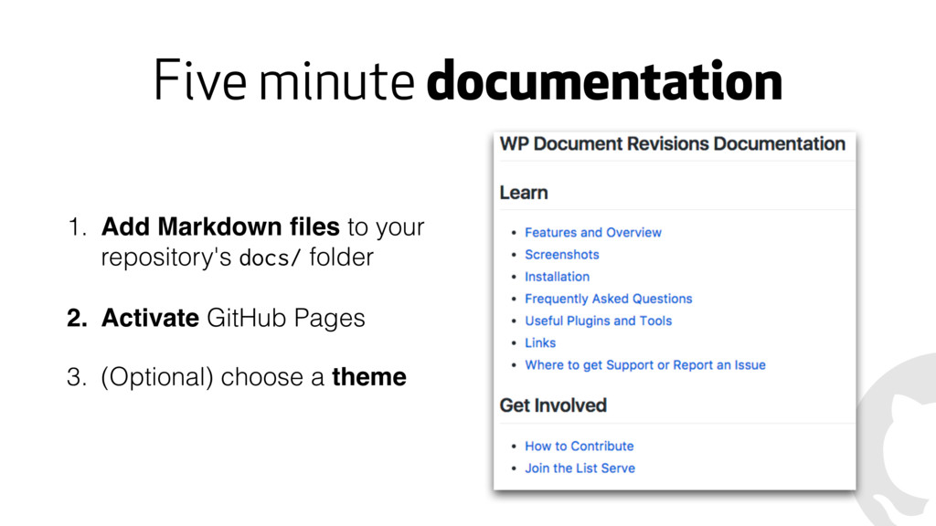 Five minute documentation 1. Add Markdown files ...