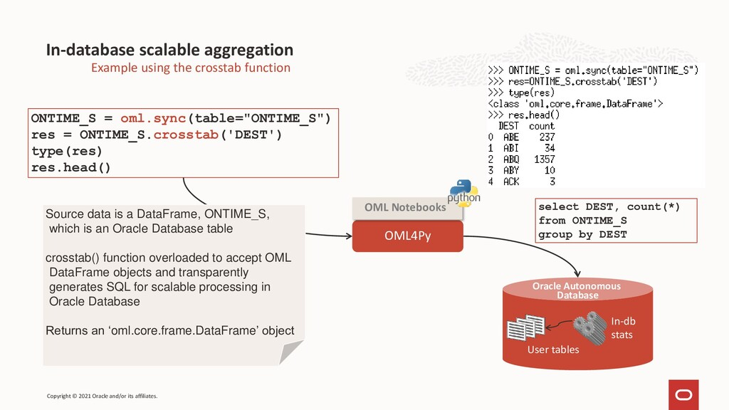 In-database scalable aggregation Example using ...