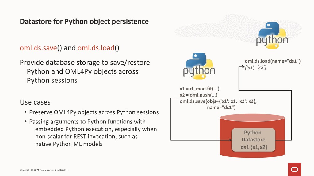 Datastore for Python object persistence oml.ds....