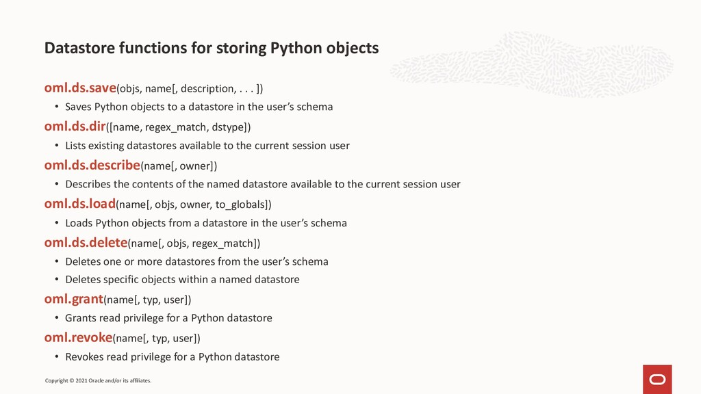 Datastore functions for storing Python objects ...