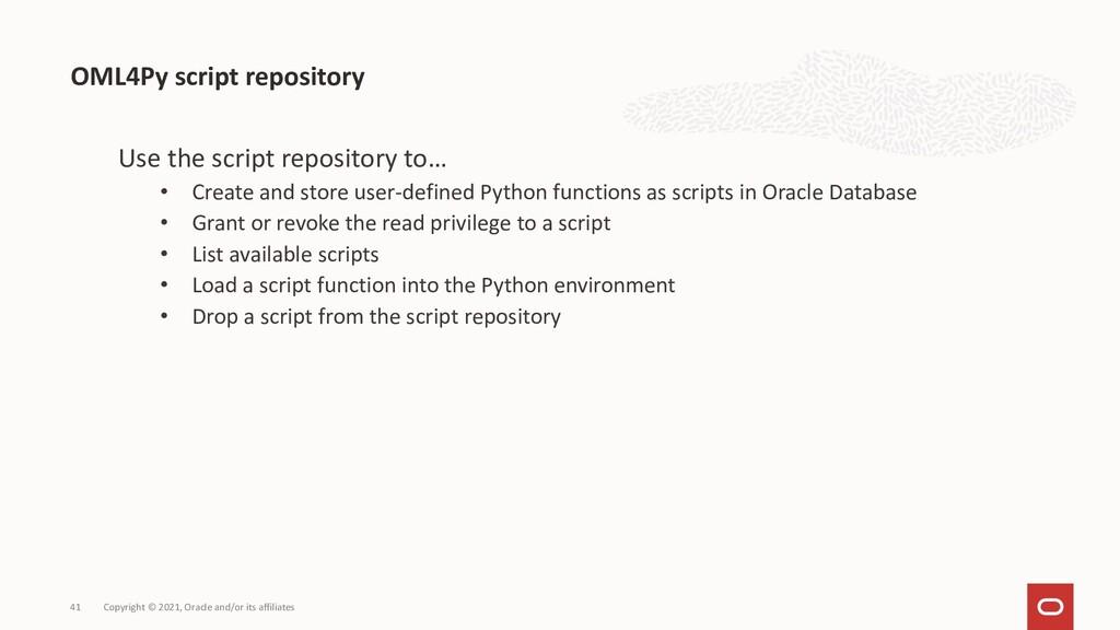 OML4Py script repository Copyright © 2021, Orac...