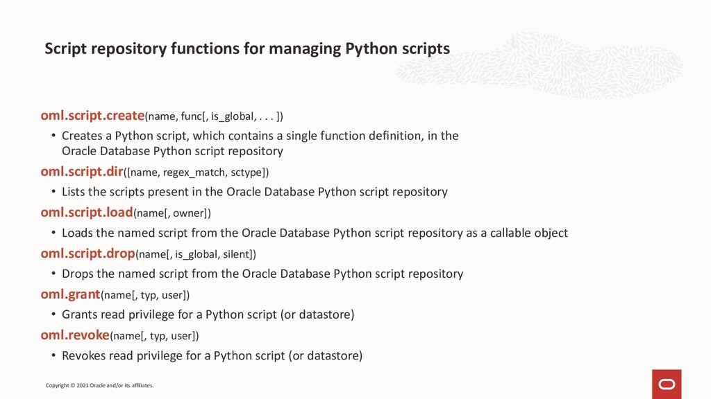 Script repository functions for managing Python...