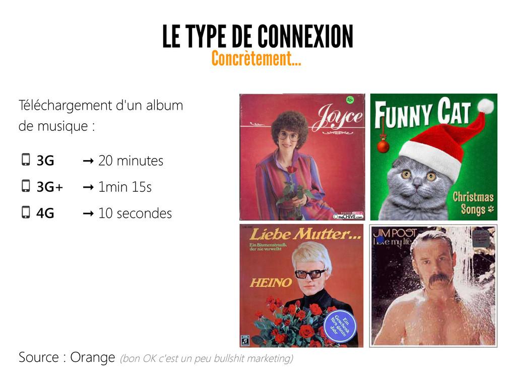 LE TYPE DE CONNEXION 3G 20 minutes ➞ 3G+ 1min 1...