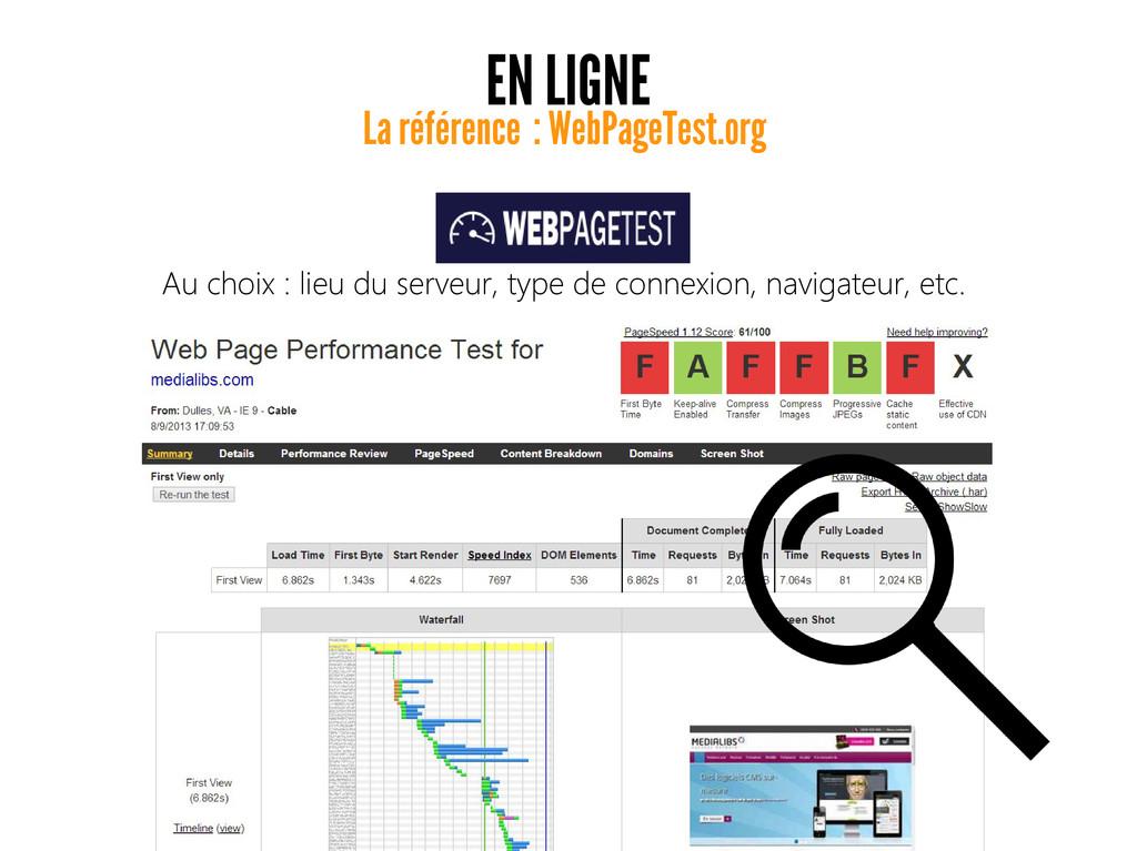 EN LIGNE La référence : WebPageTest.org Au choi...