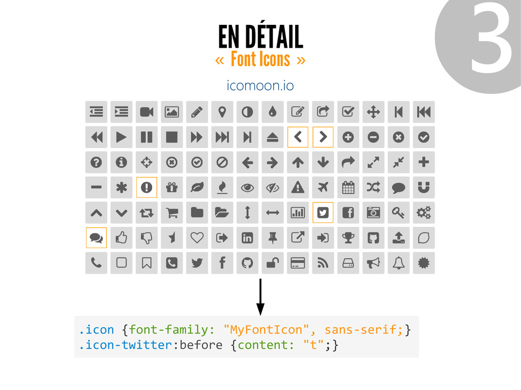EN DÉTAIL Font Icons « » ❸ icomoon.io .icon {fo...