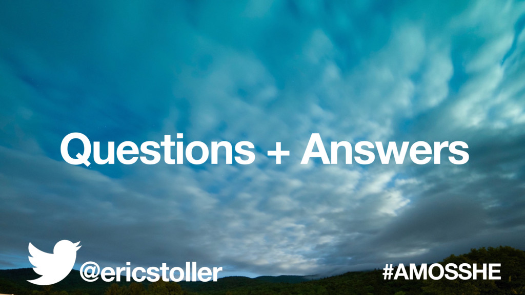 Questions + Answers @ericstoller #AMOSSHE