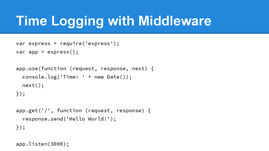 Time Logging with Middleware var express = requ...