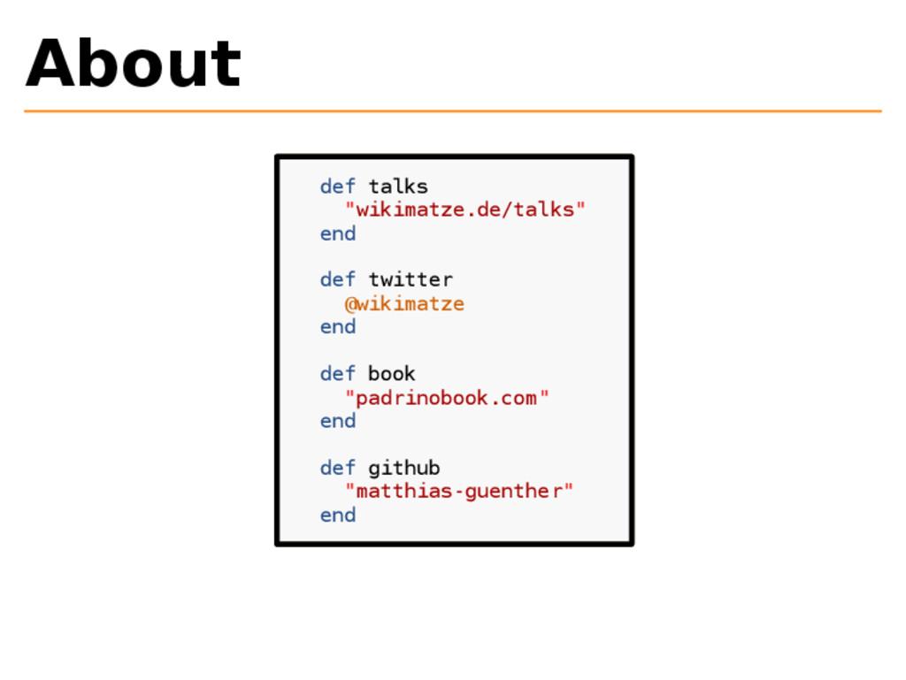 "About def talks ""wikimatze.de/talks"" end def tw..."