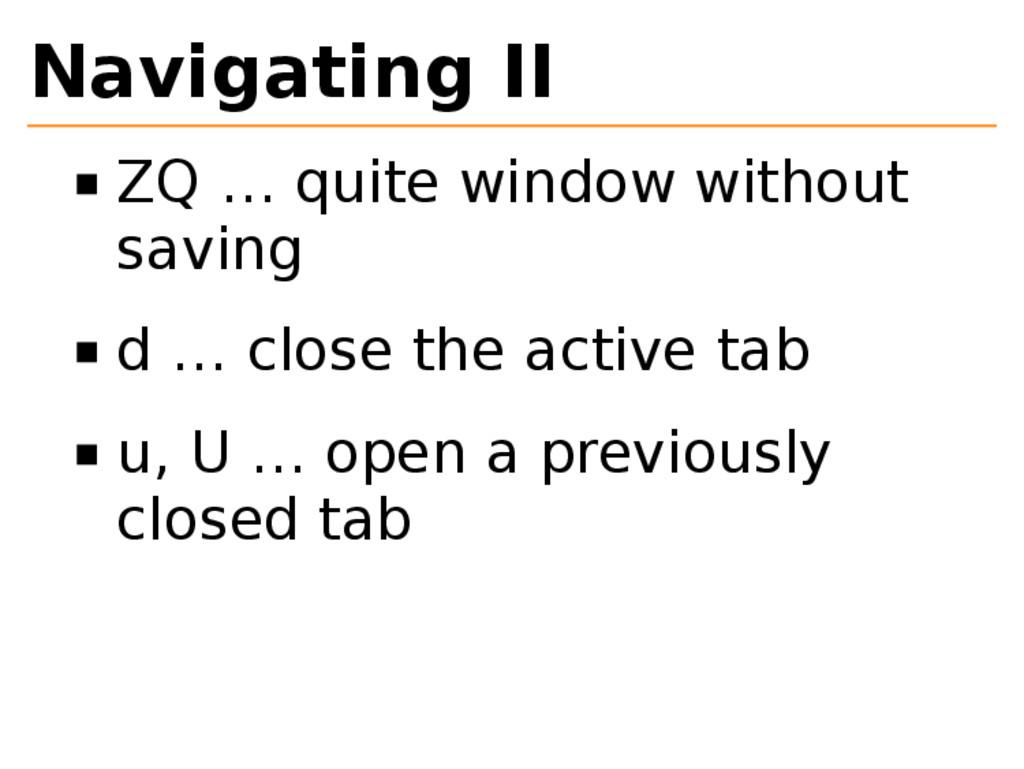 Navigating II ZQ … quite window without saving ...