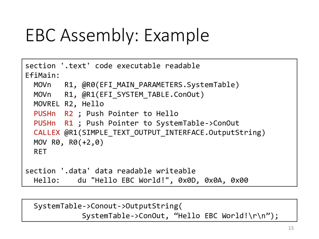 EBC Assembly: Example section '.text' code exec...