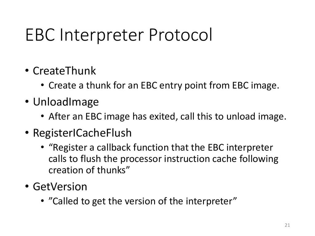 EBC Interpreter Protocol • CreateThunk • Create...