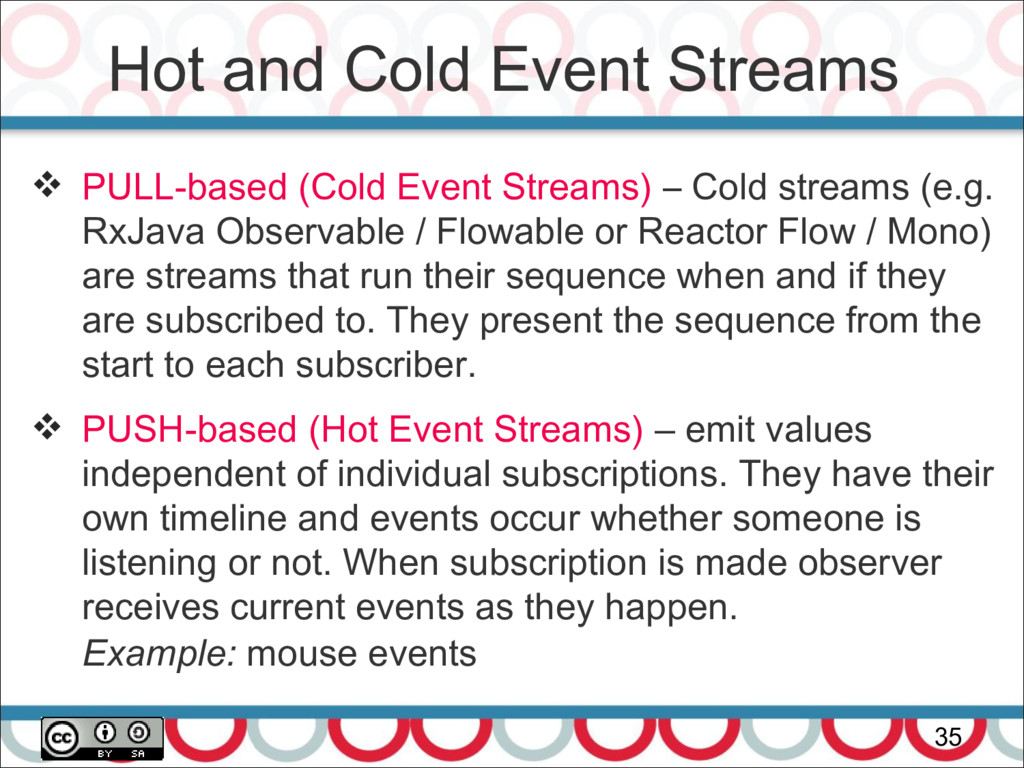 Hot and Cold Event Streams 35  PULL-based (Col...