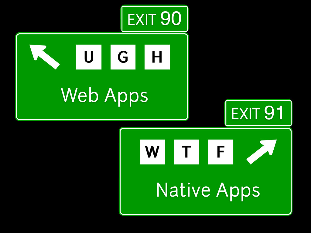 Web Apps U G H EXIT 90 Native Apps W T F EXIT 91