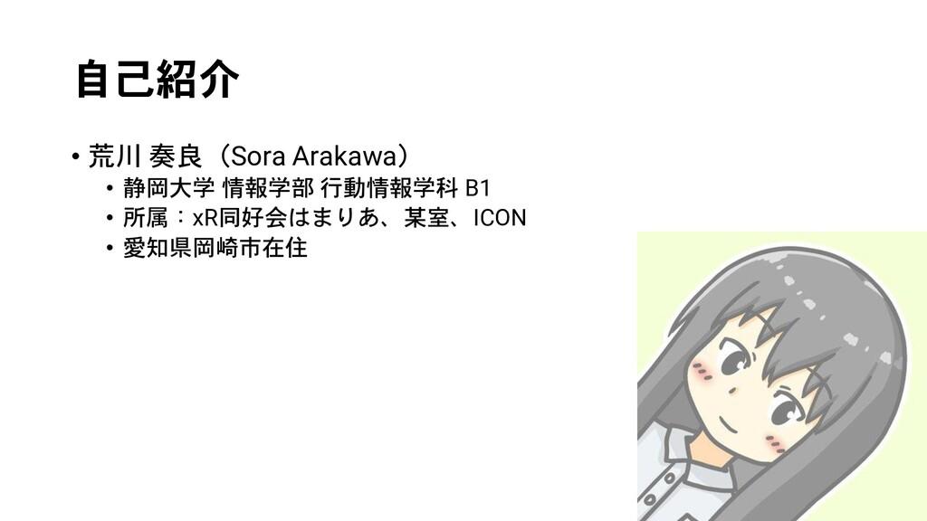 自己紹介 • 荒川 奏良(Sora Arakawa) • 静岡大学 情報学部 行動情報学科 B...