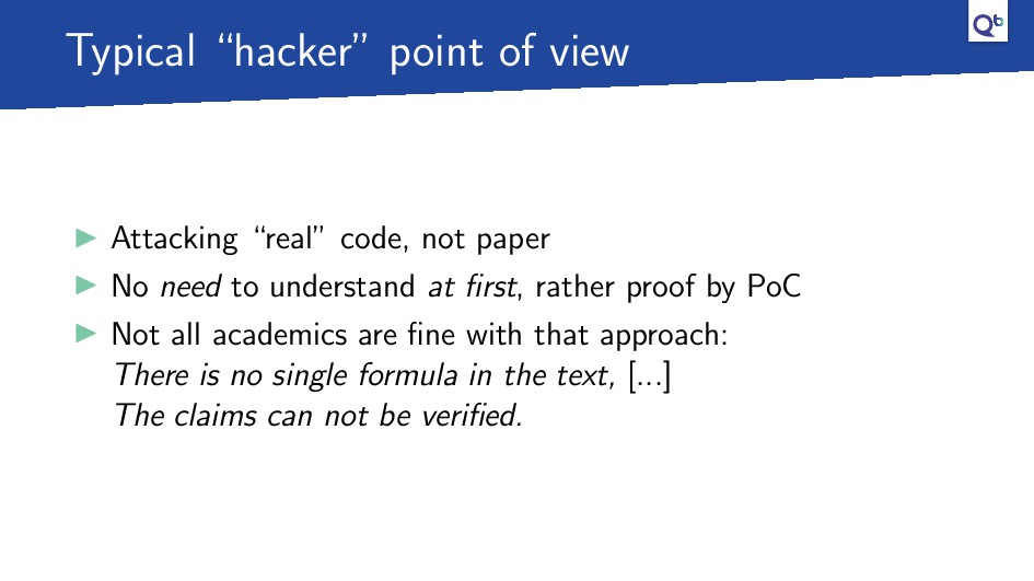 """Typical """"hacker"""" point of view Attacking """"real""""..."""