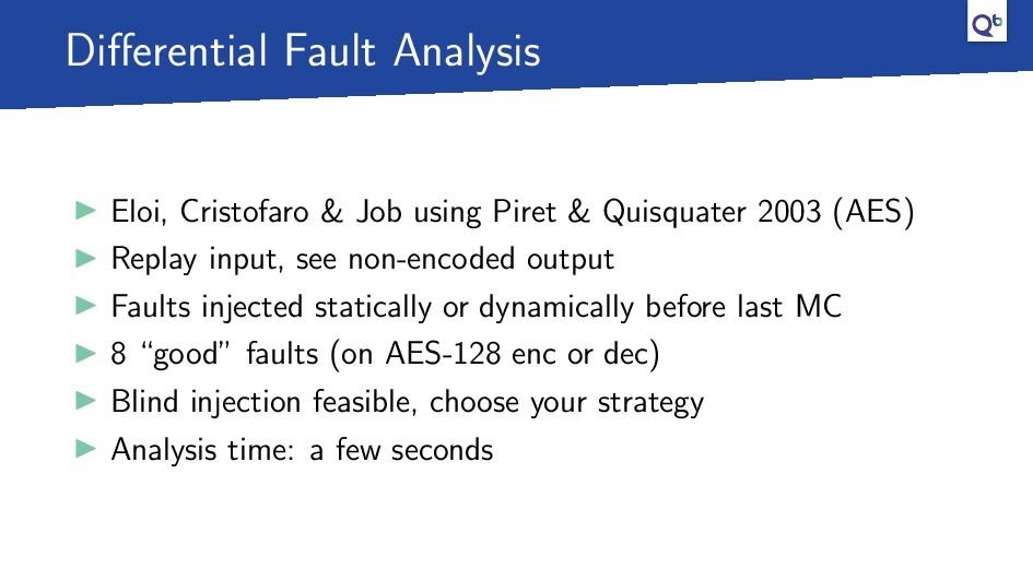Differential Fault Analysis Eloi, Cristofaro & J...