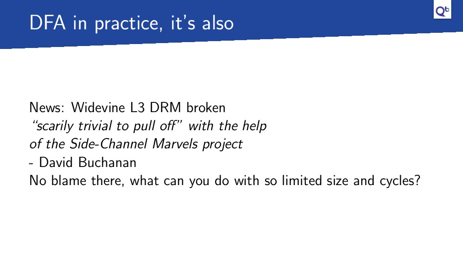 DFA in practice, it's also News: Widevine L3 DR...
