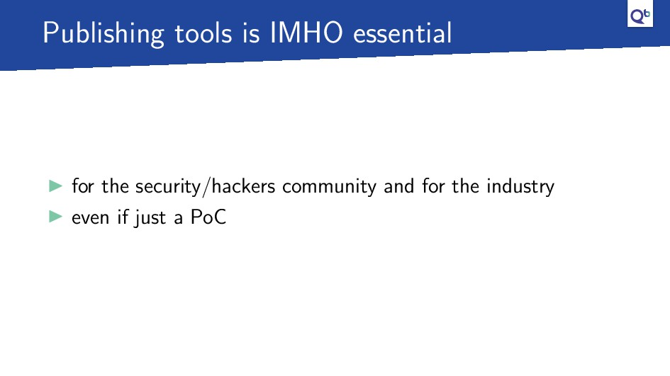 Publishing tools is IMHO essential for the secu...