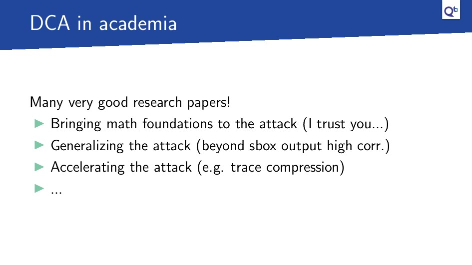 DCA in academia Many very good research papers!...
