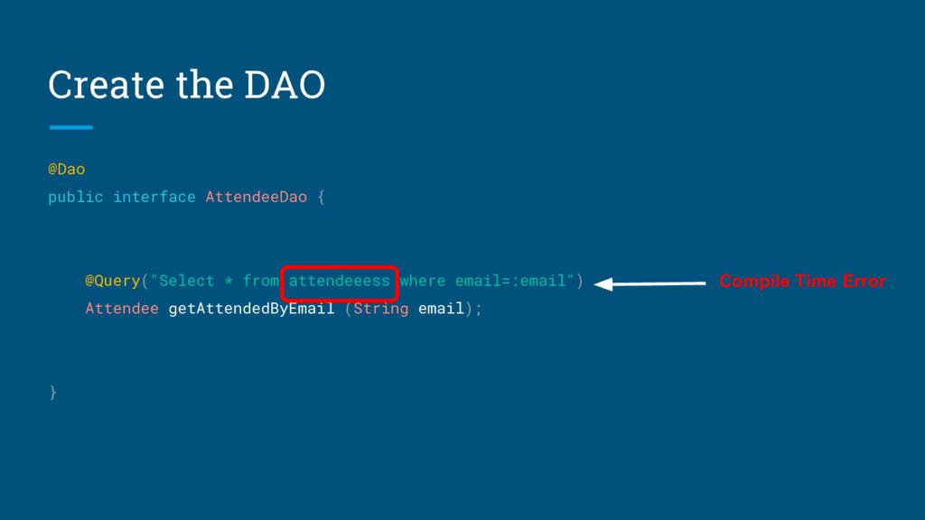 Create the DAO @Dao public interface AttendeeDa...