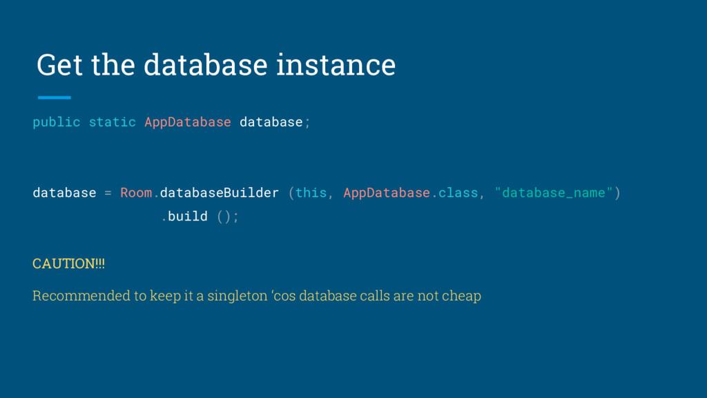 Get the database instance public static AppData...