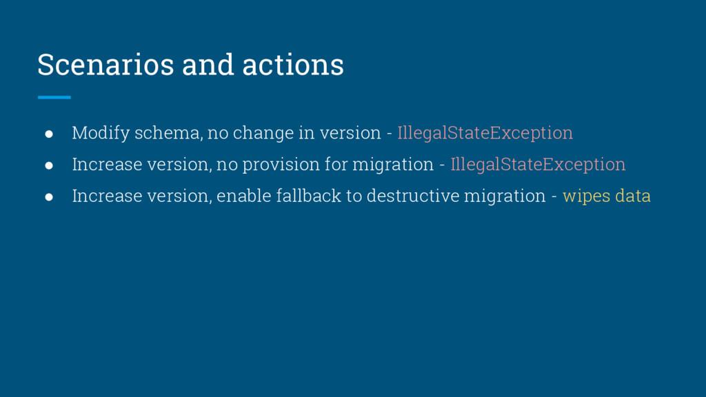 Scenarios and actions ● Modify schema, no chang...