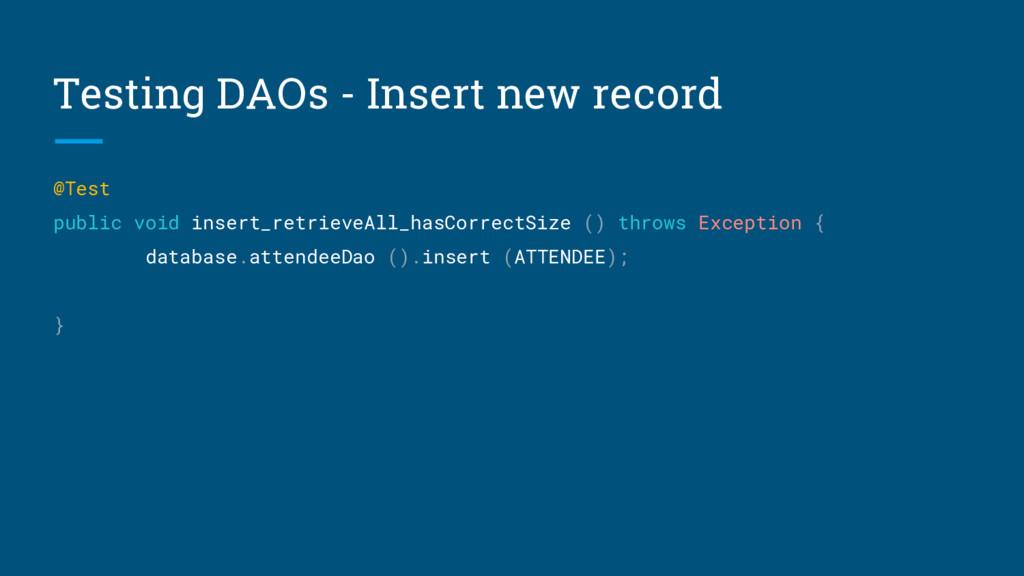 Testing DAOs - Insert new record @Test public v...