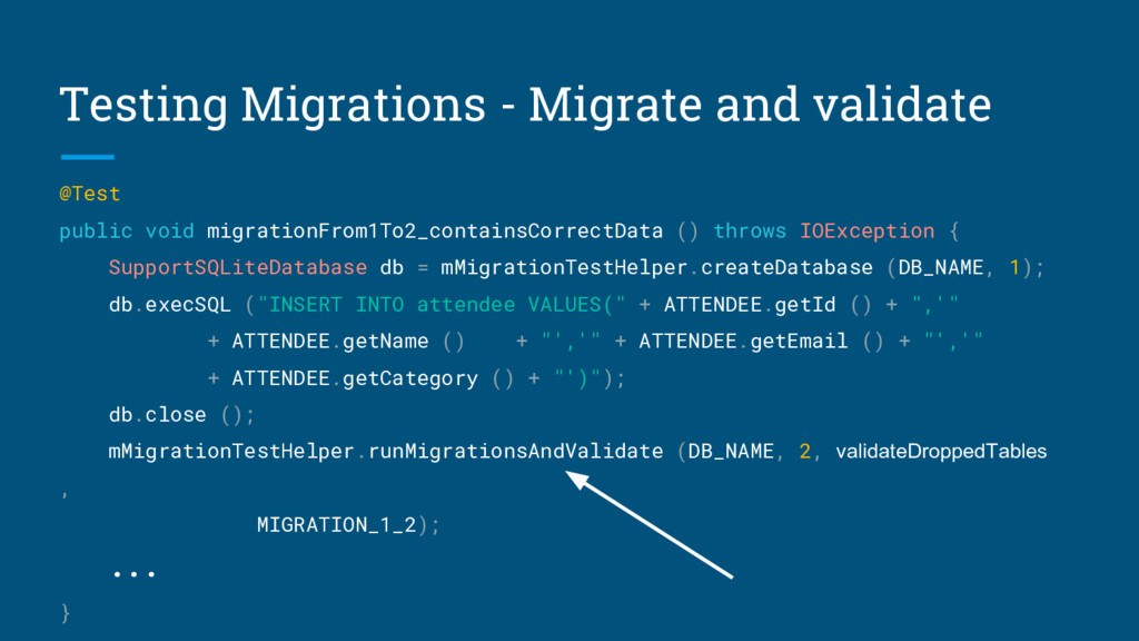 Testing Migrations - Migrate and validate @Test...