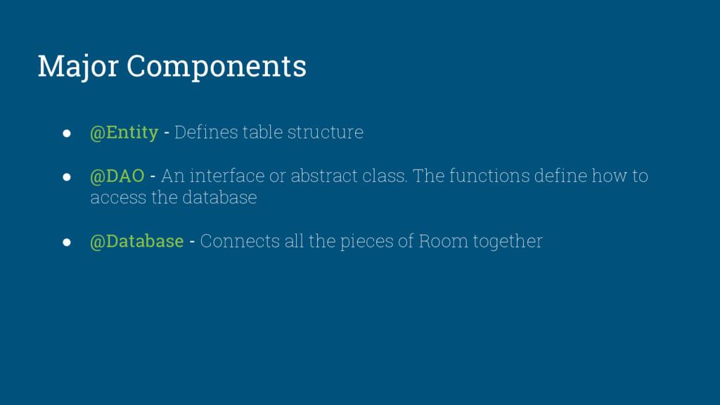 Major Components ● @Entity - Defines table stru...