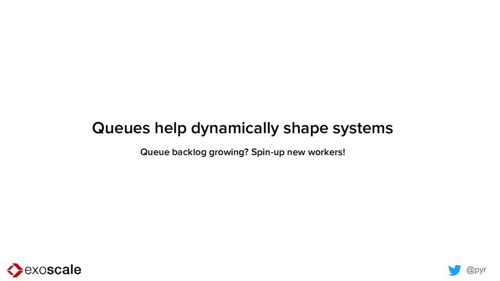 @pyr Queues help dynamically shape systems Queu...