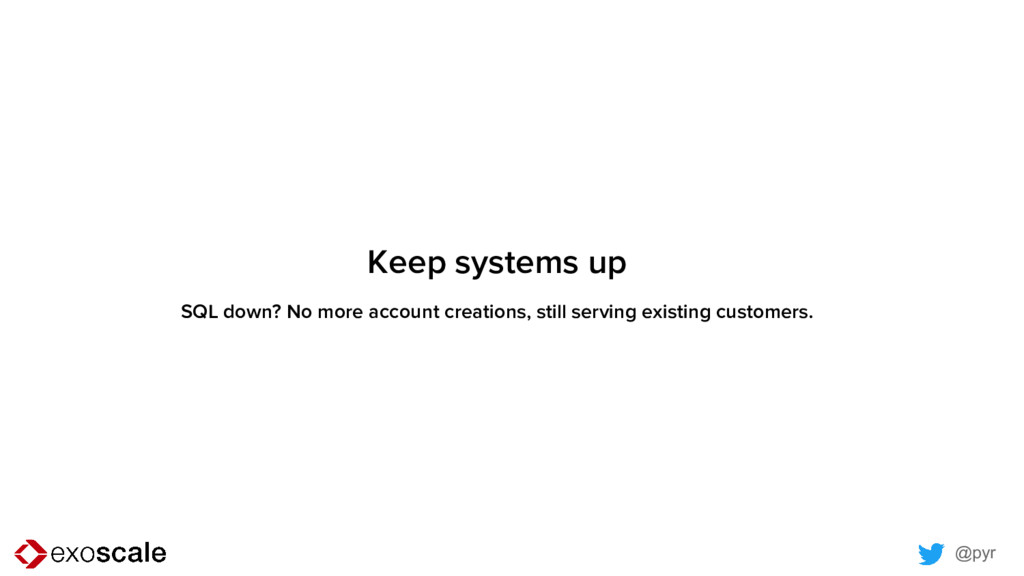 @pyr Keep systems up SQL down? No more account ...