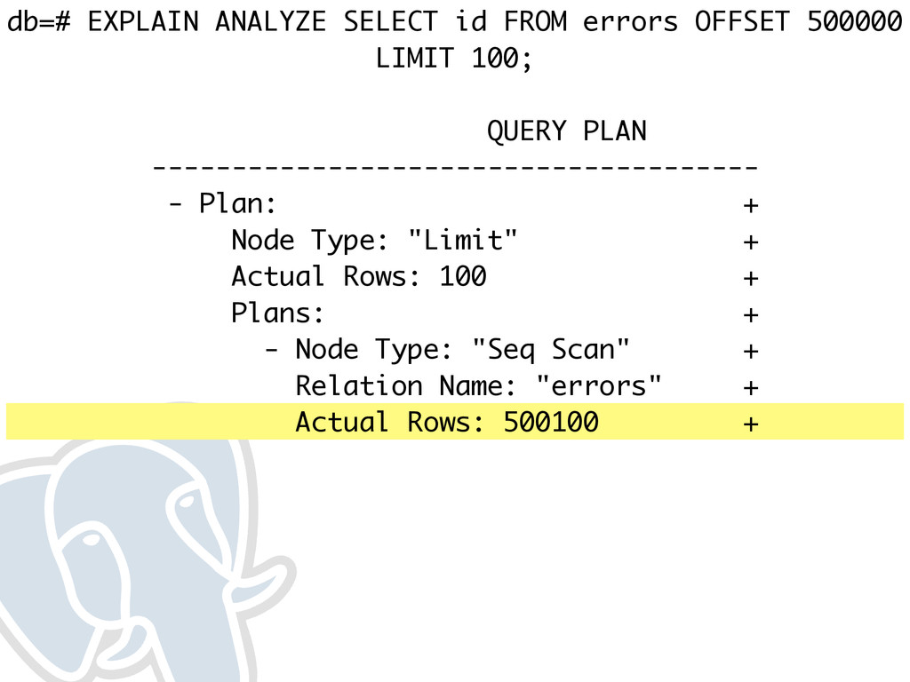 db=# EXPLAIN ANALYZE SELECT id FROM errors OFFS...
