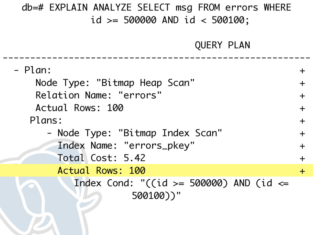 db=# EXPLAIN ANALYZE SELECT msg FROM errors WHE...
