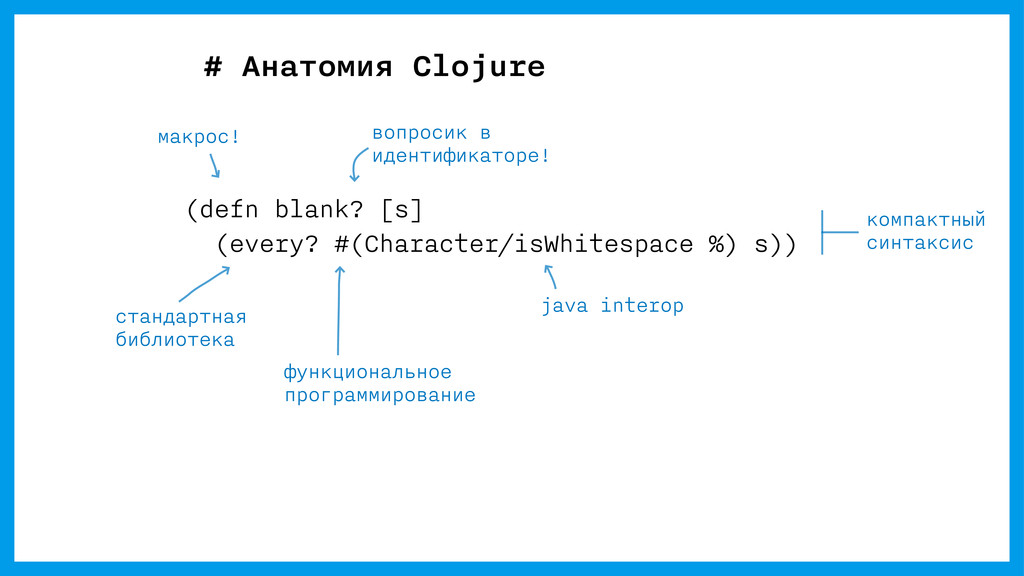 # Анатомия Clojure (defn blank? [s] (every? #(C...