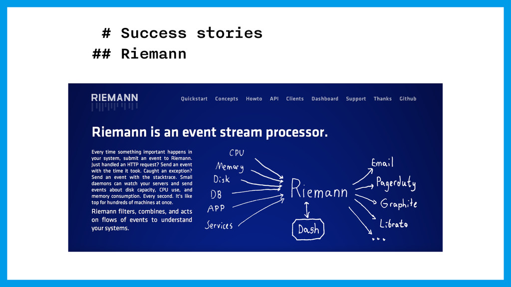 # Success stories ## Riemann