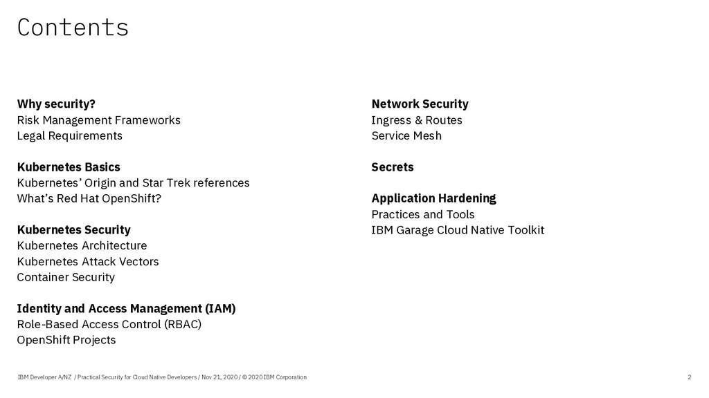 Contents IBM Developer A/NZ / Practical Securit...