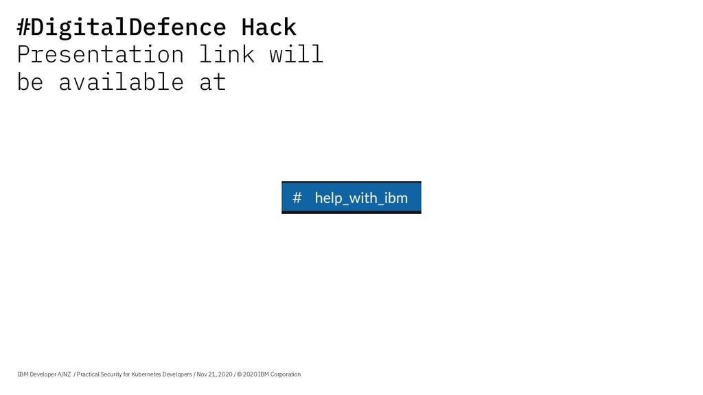 IBM Developer A/NZ / Practical Security for Kub...