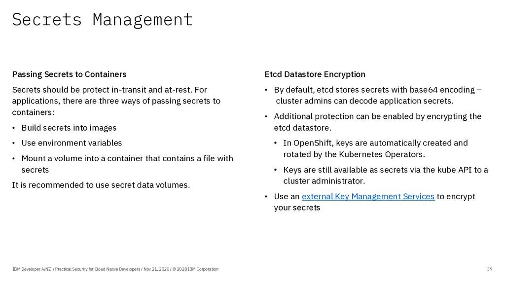 Secrets Management IBM Developer A/NZ / Practic...